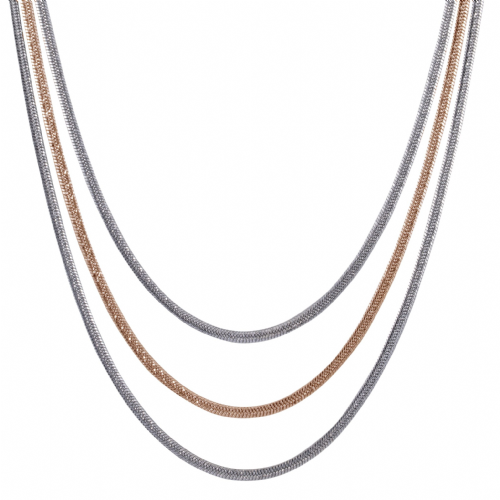 Bisoux Jewellery Short Gunmetal silver and Rose Gold Triple Snake Chain Necklace